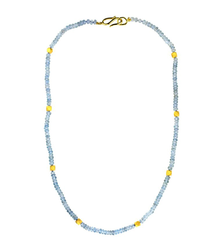24kt Gold and Aqua Geometric Bead Necklace - In Stock
