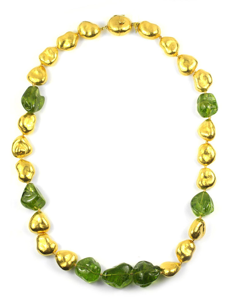 24kt Gold and Peridot Nugget Necklace - In Stock