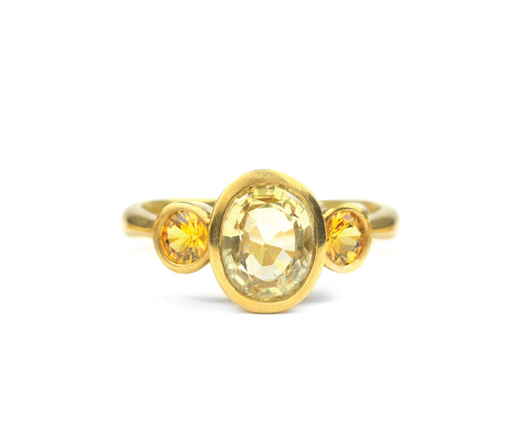 22kt Gold and Yellow Sapphire Three Stone Ring - Made to Order