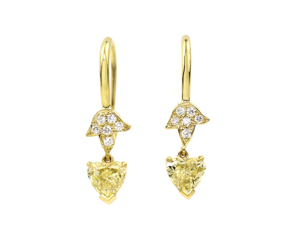 18kt Gold, White Diamond and Yellow Diamond Leaf Earring - In Stock