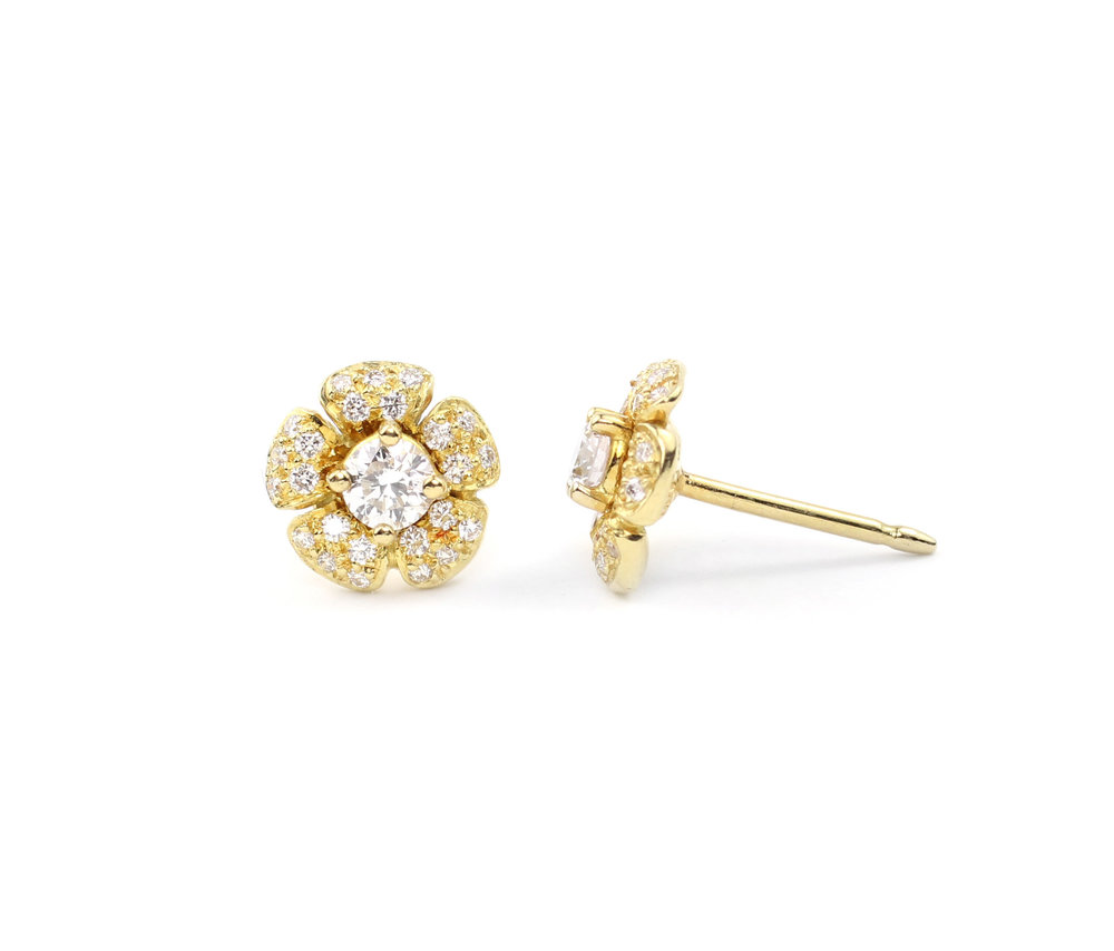 18kt Gold and Diamond Flower Earrings (Small) - In Stock