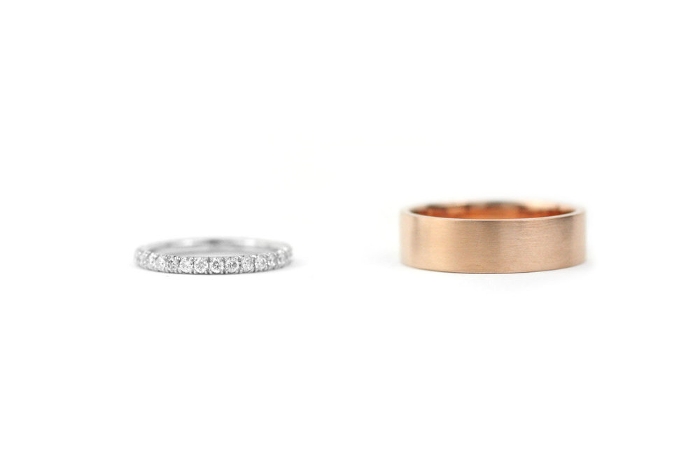 Diamond Band and Rose Gold Band
