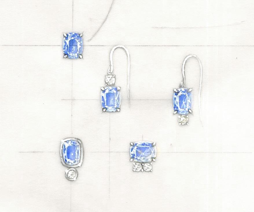 Sapphire Earring Rendering