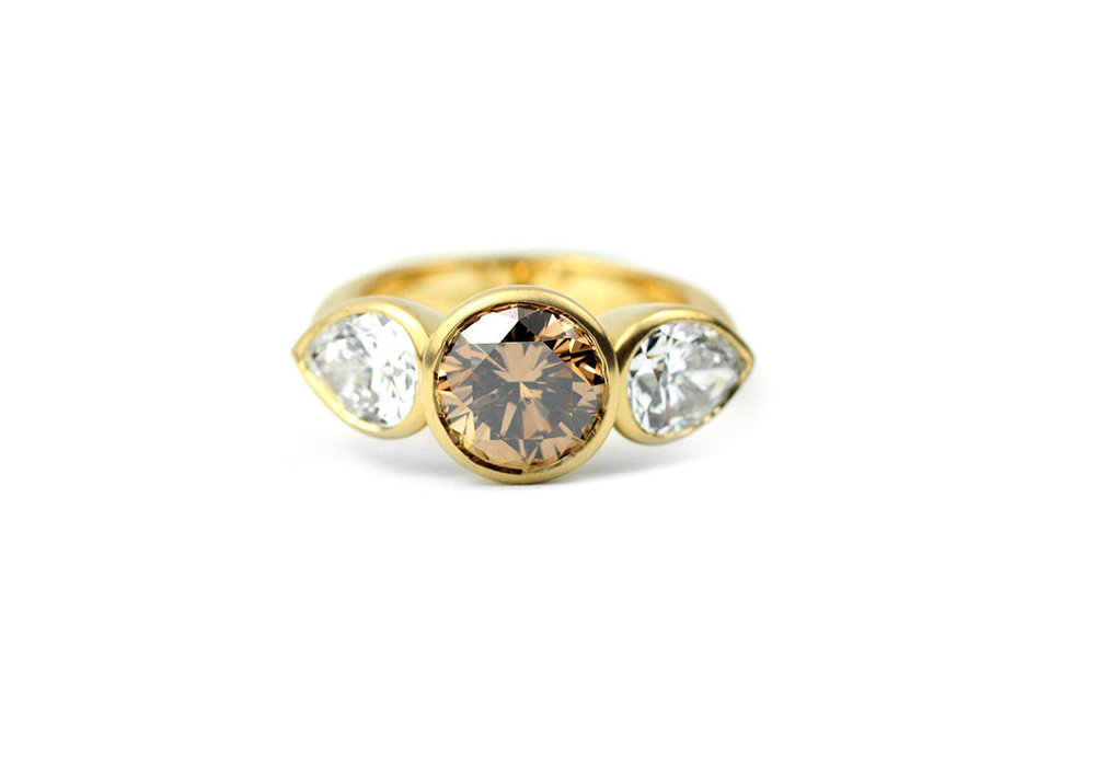 Brown Diamond Bezel Ring