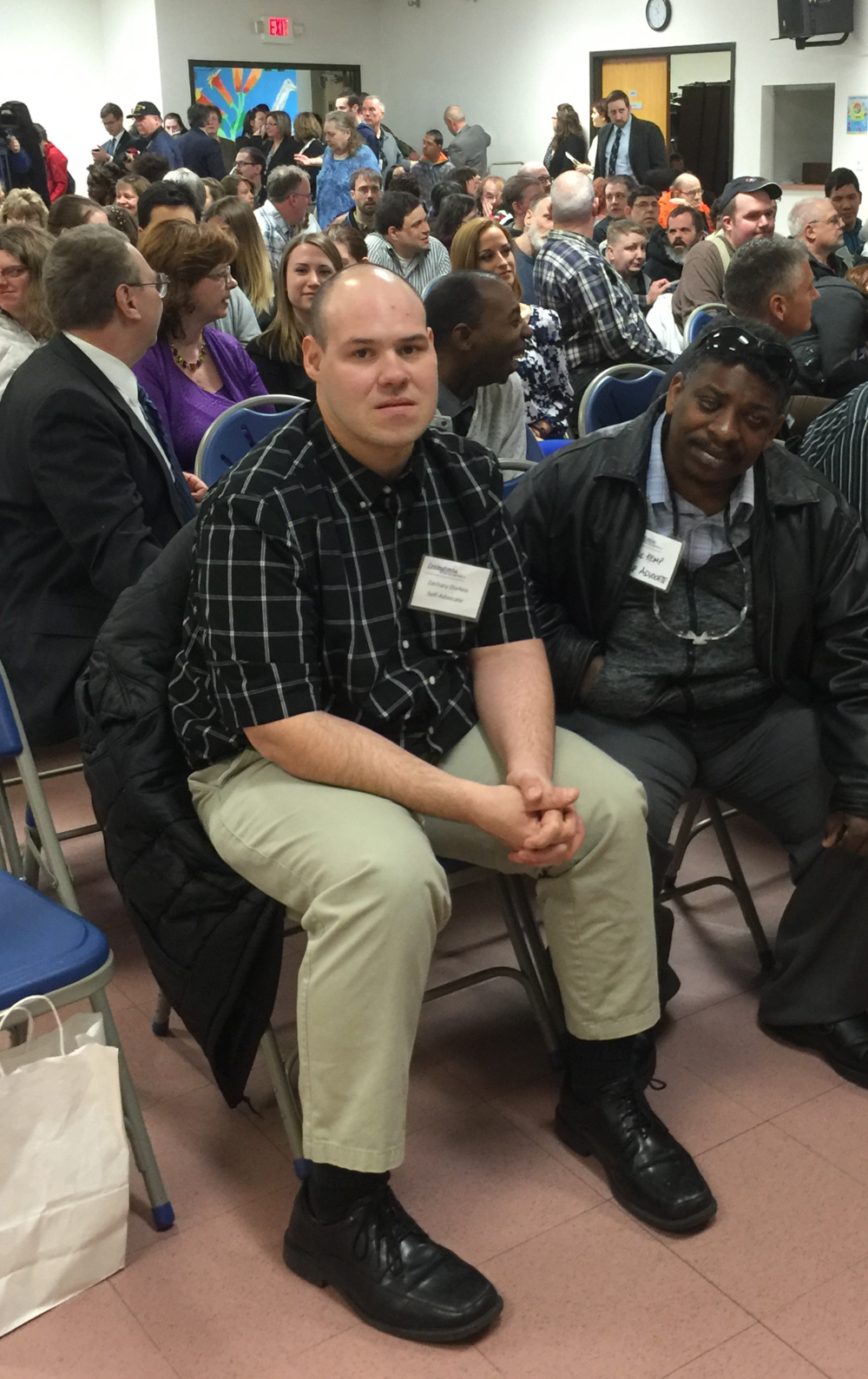 Lexington Self-Advocates Zach Durkee and Jose Kemp in the front row