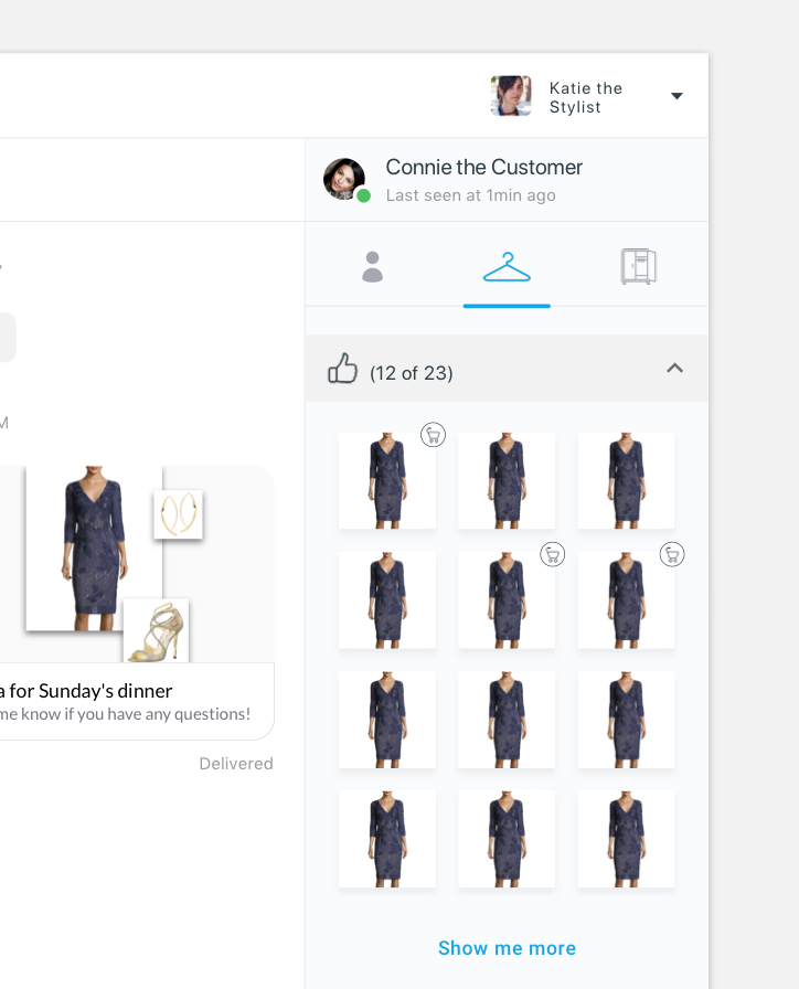 I experimented with adding a 'purchased' icon to each liked item, which was well received by the stylists. I also added a 'x of y' to the header bar to give an affordance to show how much is being shown and how much is being hidden.