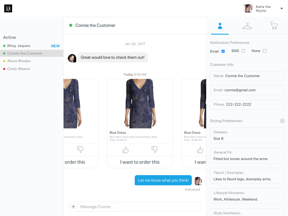 Mockup of the stylist view.