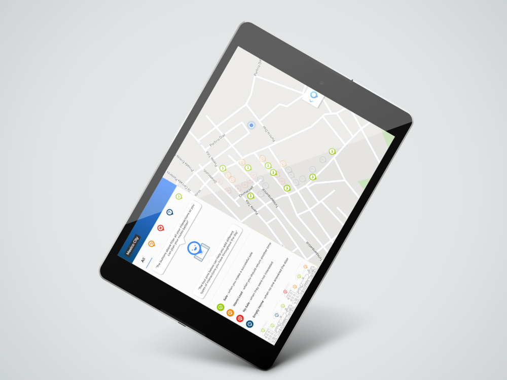 Onboarding view of the map sales app