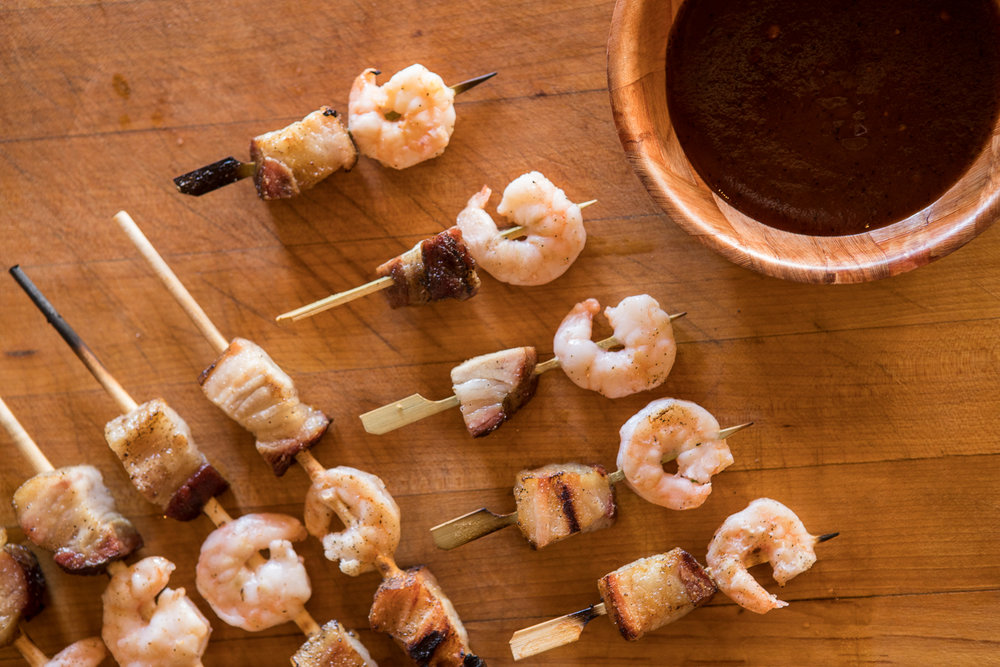 prawn & pork belly skewers