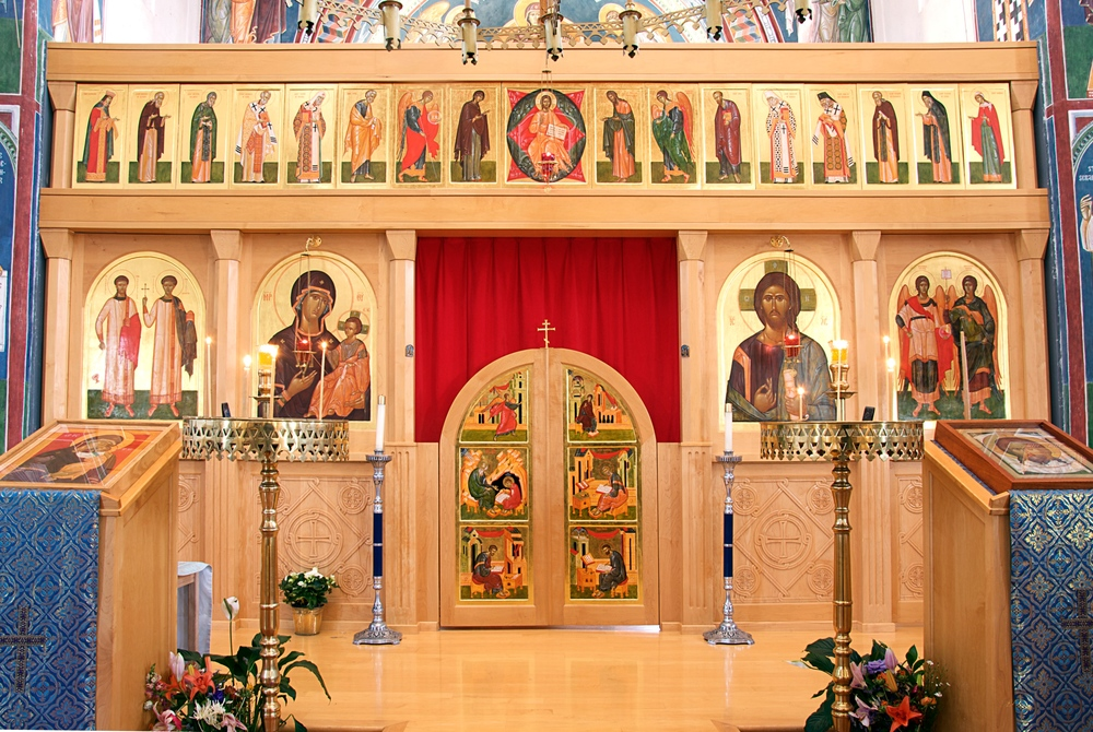 St. Seraphim of Sarov Orthodox Church, Santa Rosa, California:   Icon Screen painted 1998-2003