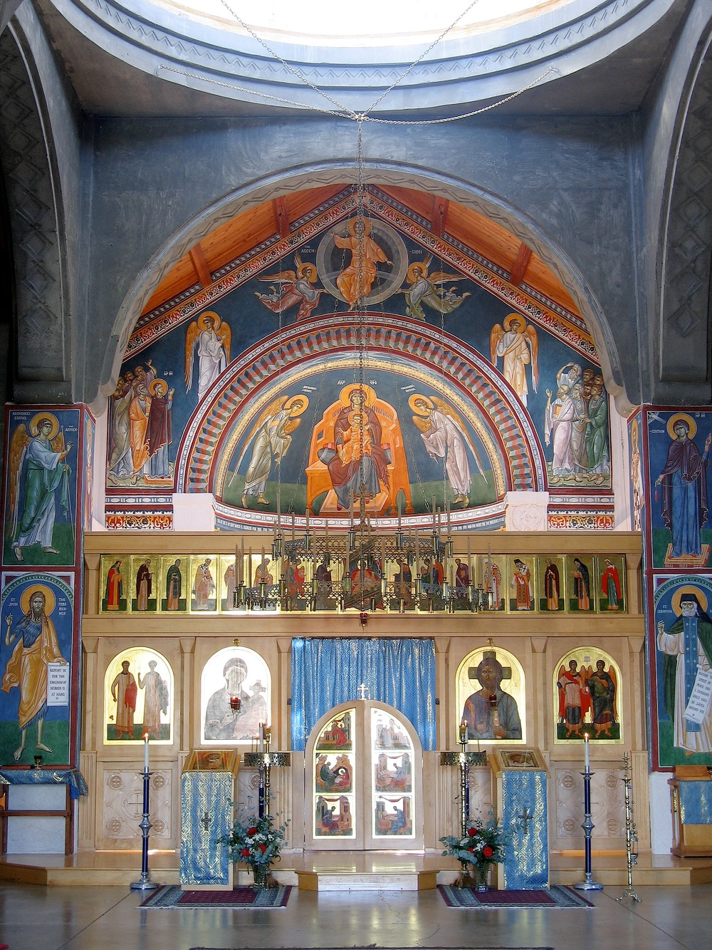 Fig 1. Saint Seraphim's Orthodox Church, Santa Rosa, California, view to the east. The panel icons of the icon screen, and the Virgin Enthroned in the Apse are painted in egg tempera. The rest of the walls shown are painted in fresco. Frescoes are planned for the remaining walls, columns and arches, as well as the dome.