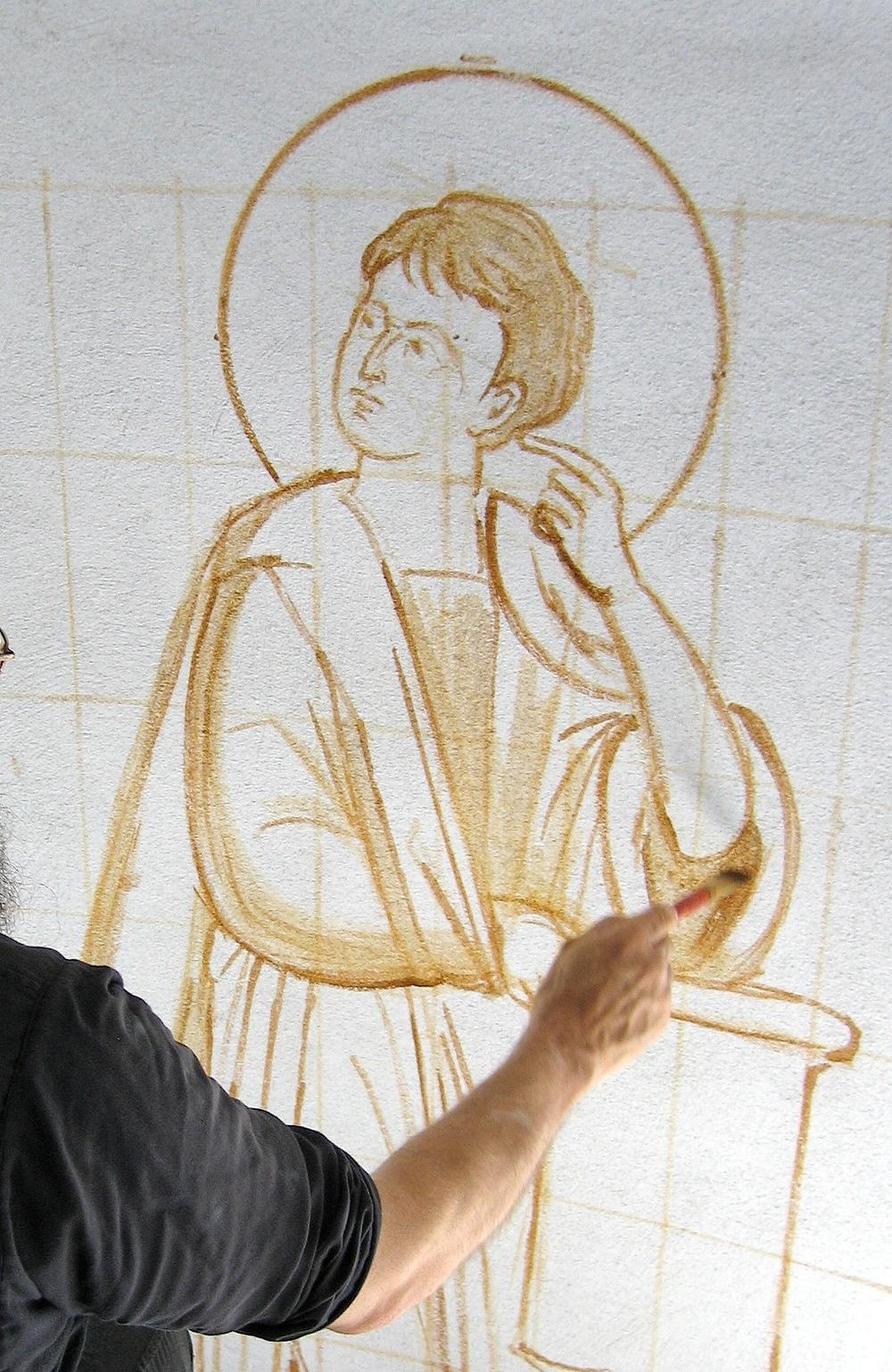 fresco painting an orthodox church  u2014 saint gregory of