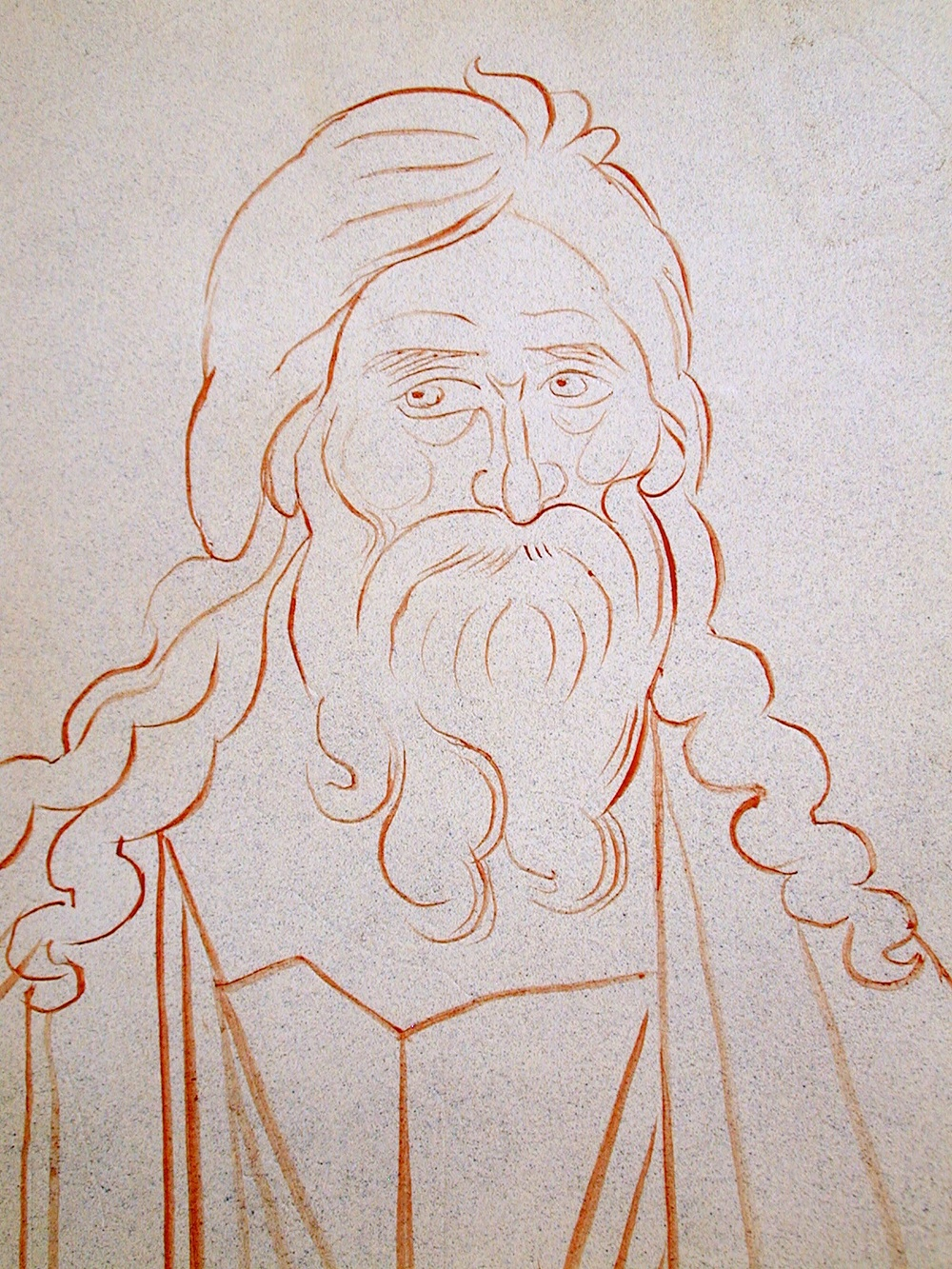 Fig 5. The Prophet Isaiah: initial drawing on the damp plaster.