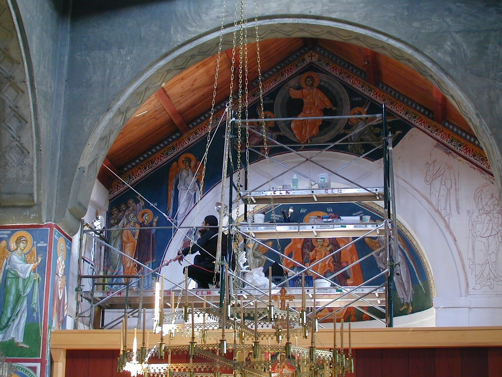 The progression of the Ascension fresco as it moves down the wall. In the  last photo the plaster joins of the fresco are outlined in white. In the  church ...