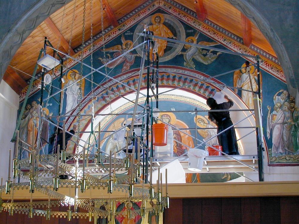 Fresco Painting An Orthodox Church on Modern Church Interior