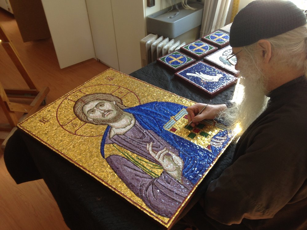 Working on Christ mosaic - close up.jpg
