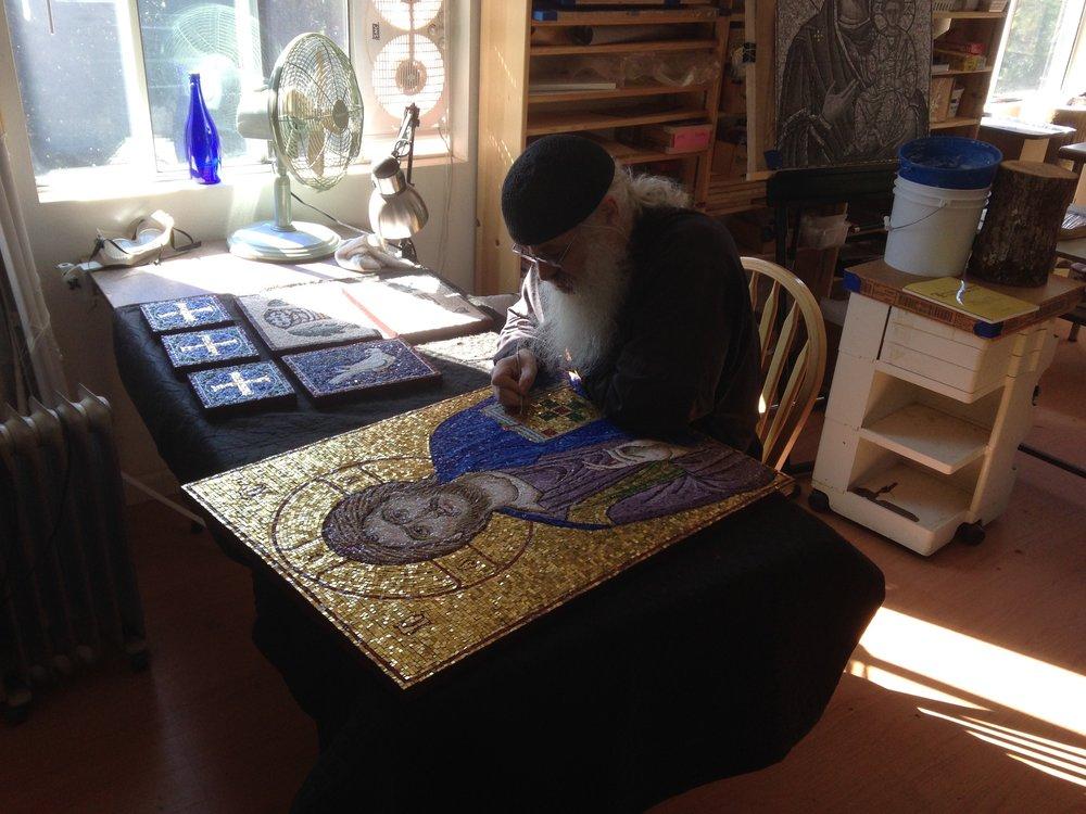 Working on Christ mosaic.jpg
