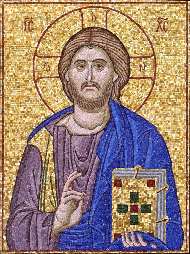 large mosaic of christ saint gregory of sinai monastery