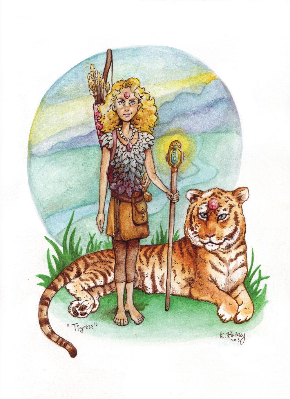 """Tigress : An Elliot Berkley Character""  Fictional Heroine described in a 10-year olds short stories.  Watercolor on paper"