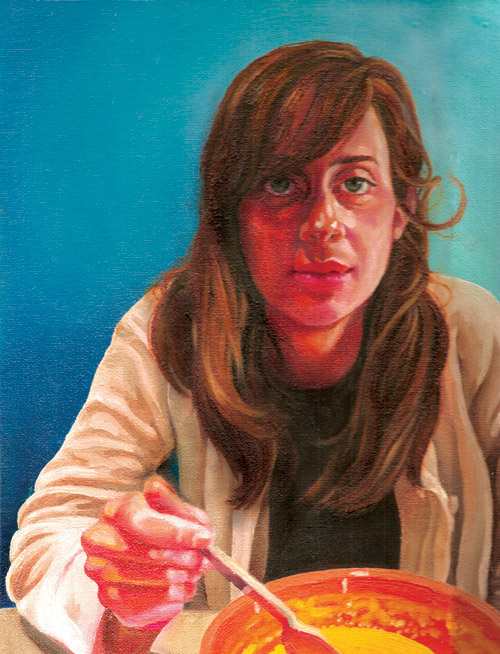 """Camille at Lunch""   Oil on Canvas   8.5"" x 11"""