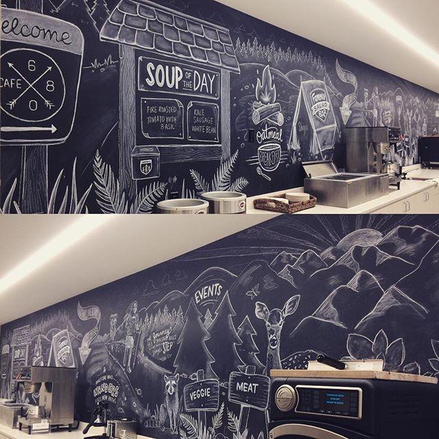 New chalkboards for the Allen Institute in long form #chalkboardart #chalk #signart