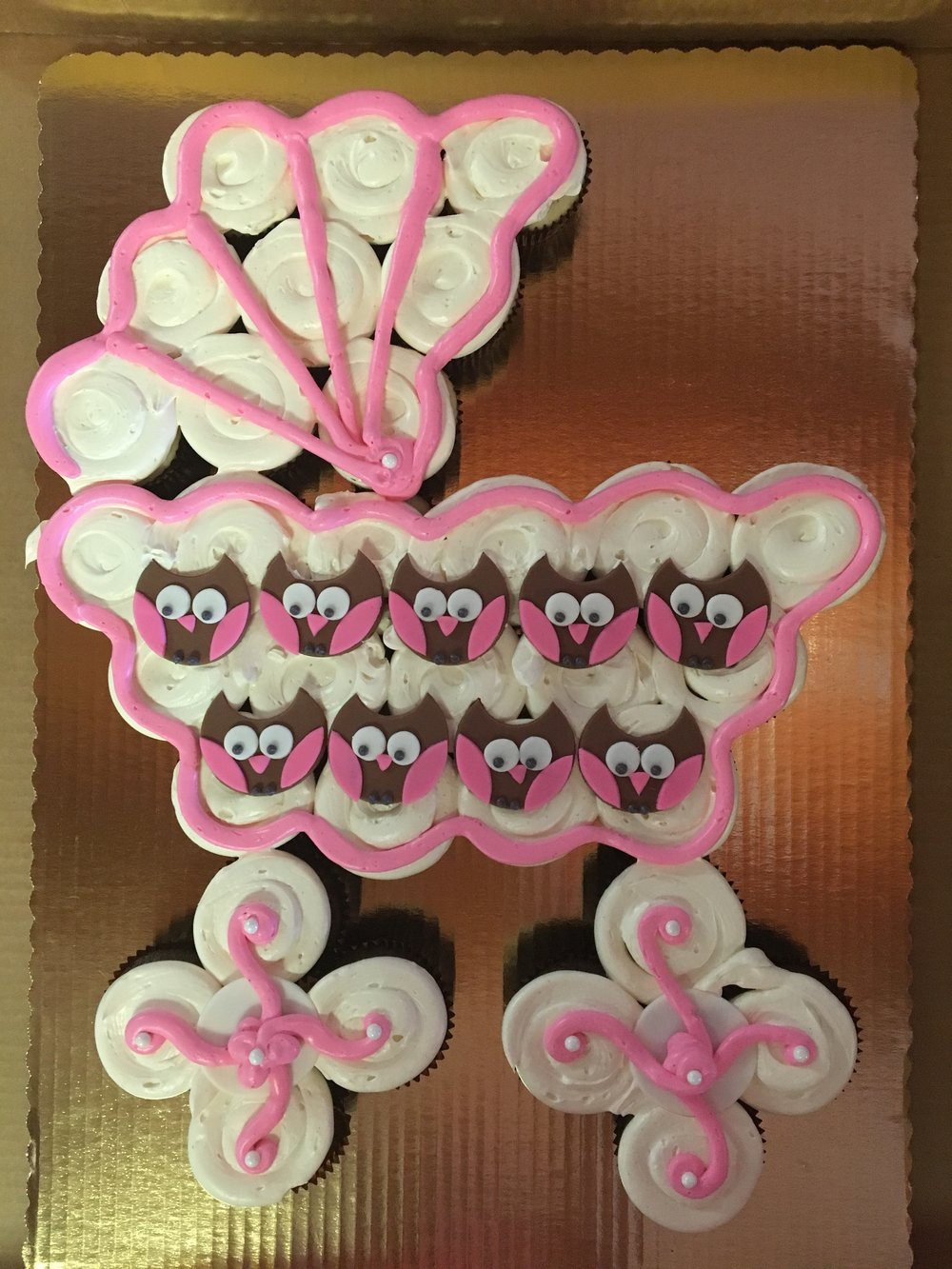 cupcakes carriage owls baby girl