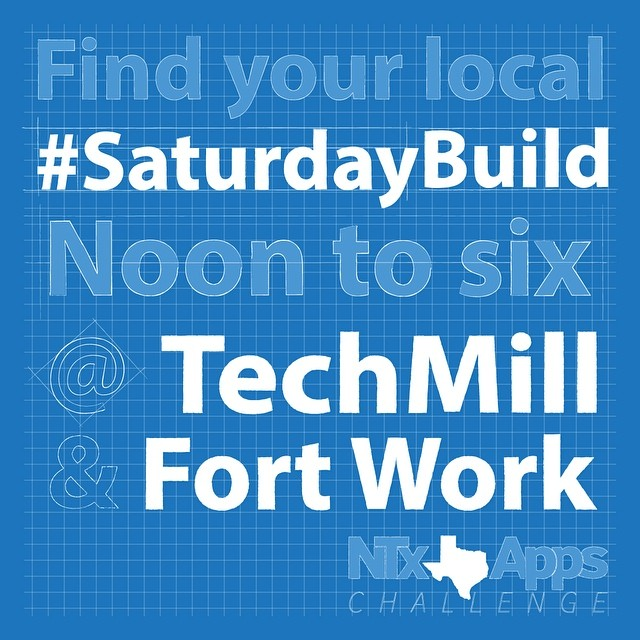 TODAY! Find your local #SaturdayBuild in #Denton at TechMill (located in Banter) or Fort Work in #NorthDallas. Come out for a free place to work on your #apps today from noon to six! #developers #iot #m2m #dfw #app #tech