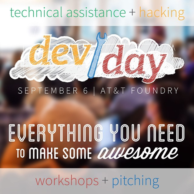 Let's make some #awesome together on Sep. 6. Sign up now: http://NTxApps-DevDay.splashthat.com  Join us September 6 at the AT&T Foundry for a full day of #hacking, #making, workshops, and one-on-one technical assistance with engineers from @_BottleRocket, Gemalto, @Intel, Socrata and @ATT!  #NTxApps #MakeSomeAwesome #app #appdev #dev #developer #tech #technology #dfwtech #dallas #plano #fortworth #denton #startup #entrepreneur #pitching #software #iot #m2m #m2x #hardware #ntx #hacker #hackathon #makeathon