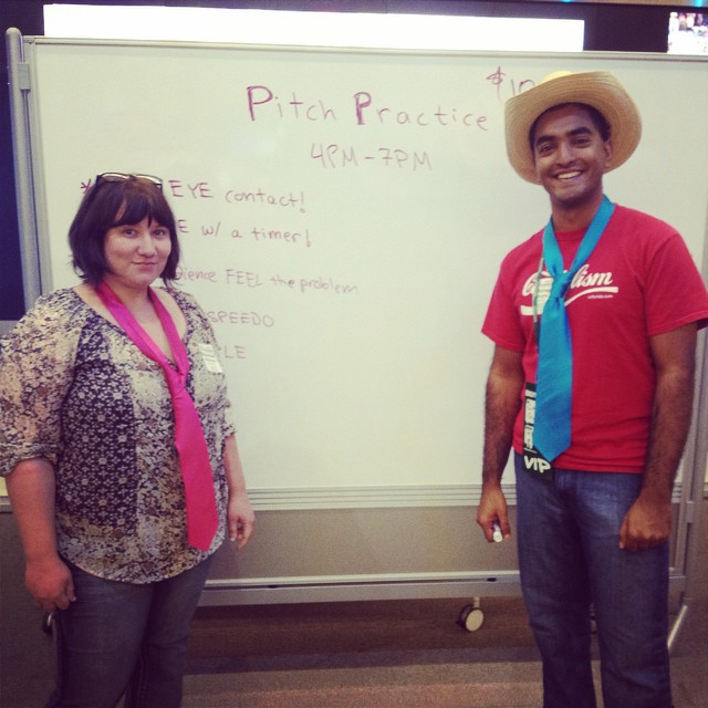 Thanks @chicagogupta and Rachel Gilliam for giving feedback to our teams during #PitchPractice! #DevDay #NTxApps