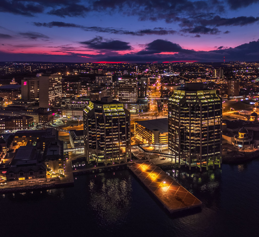 Purdys Wharf under a red sunset sky in Halifax, shot with the Inspire 1 Pro X5R