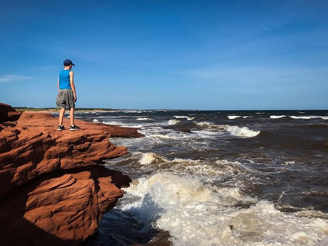 Exploring Cavendish Beach this morning. #pei #cavendishbeach #explorecanada #sharecangeo #canada #tourismpei #waves #beach #cliffs #iphone7plus #windy