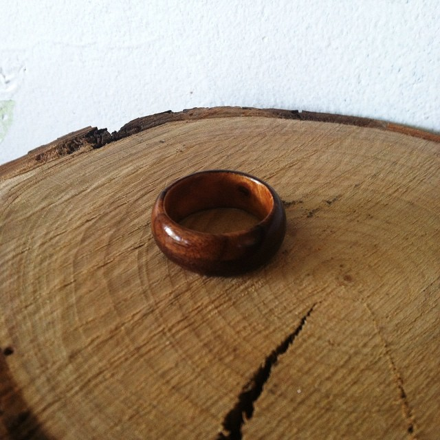 A wedding band being delivered tomorrow! Book matched rosewood with weeping willow burl wrapped around the inside.