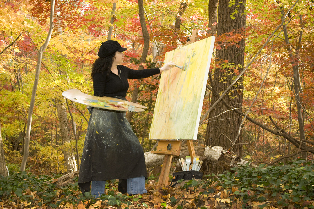 Rachelle Krieger painting at Sands Point Preserve, 2007.   Photo credit: Don Gatehouse