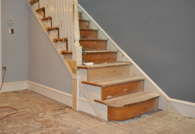 The ghost of the original stair turn is visible in this photo