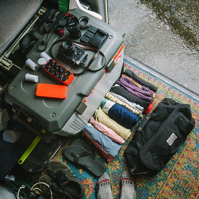 Packing for a two week shoot in Central America... . Seeya later rain! . @goinghostel for the adventure. 🤘🏼🌊🌴
