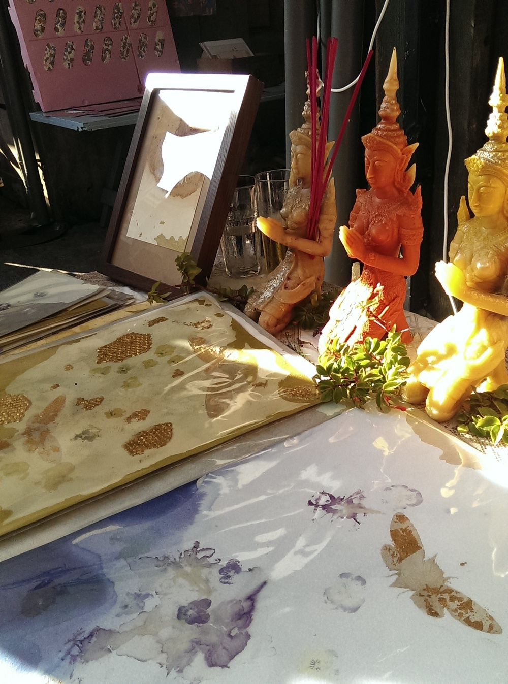 Tiffany Singh's wax sculptures and handmade natural prints in the evening sunshine
