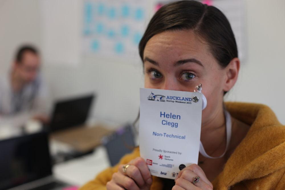 One very tired Print Room manager, Helen Clegg, on day two of Startup Weekend.