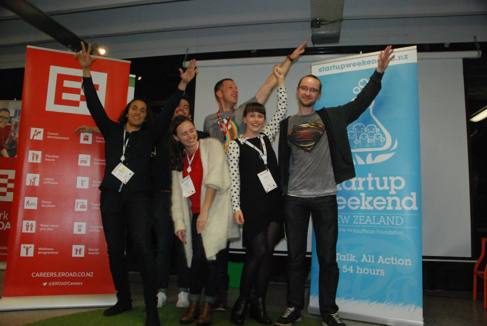 The winning team at Startup Weekend. Photograph courtesy of Startup Weekend Auckland.
