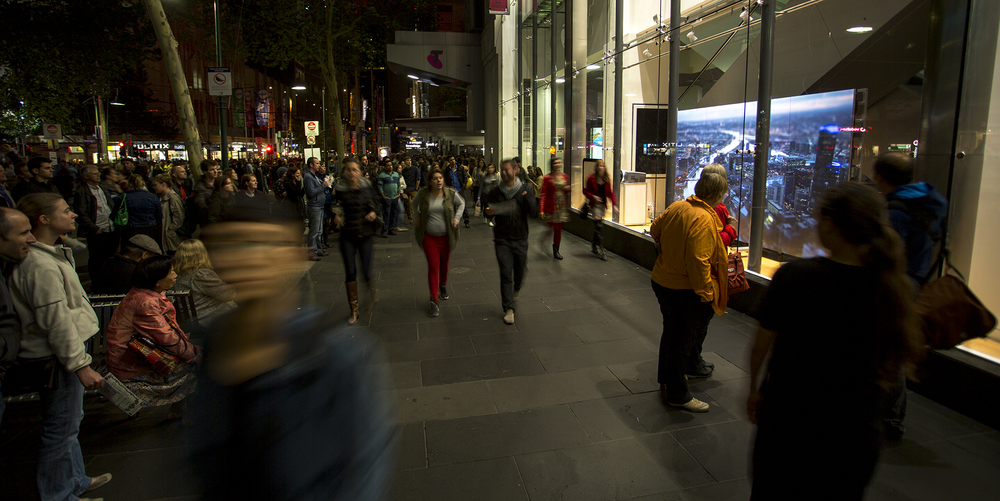 Miniature Melbourne screening at White Night Melbourne 2014.