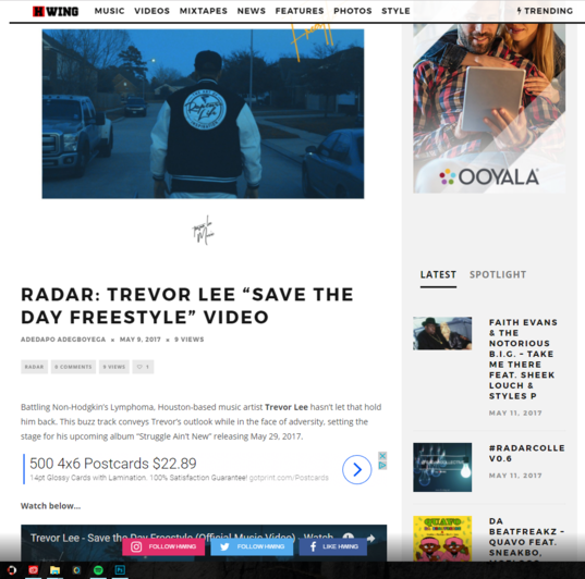 "HWING features Trevor Lee's ""Save the Day Freestyle"". Music Video."