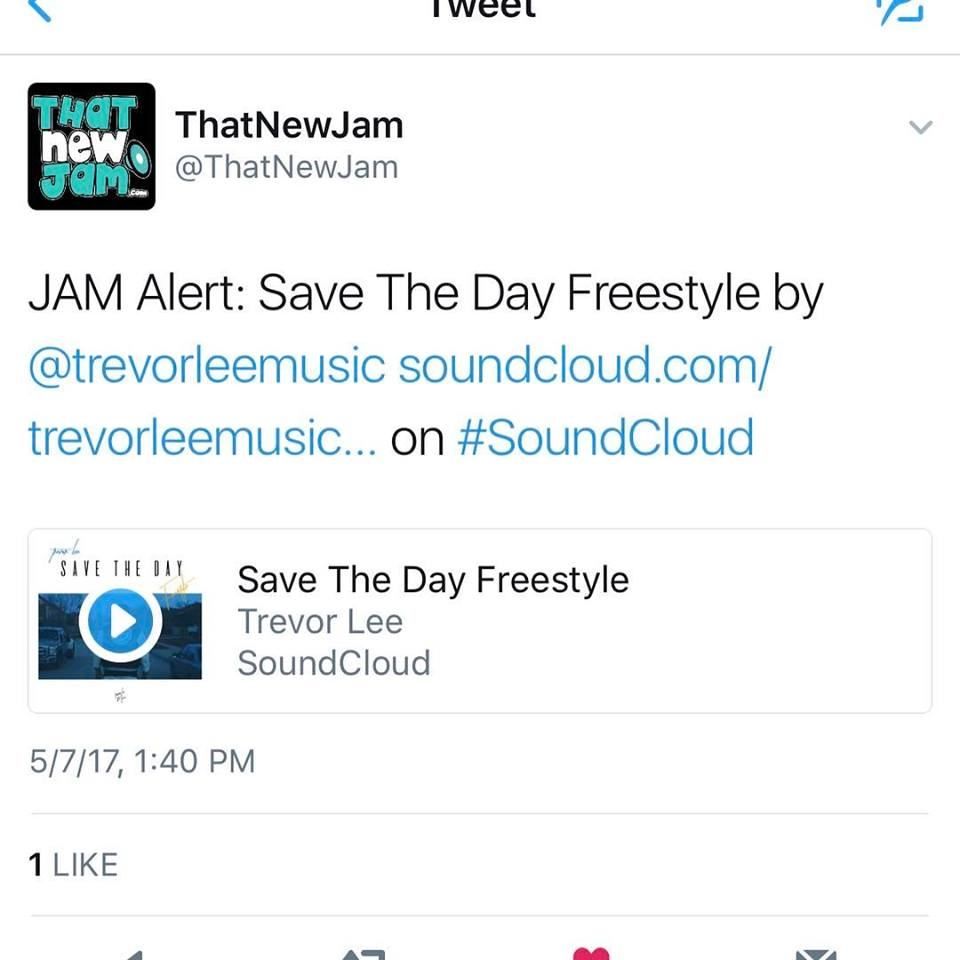"That New Jam features Trevor Lee's ""Save the Day Freestyle"". Soundcloud playlist feature."