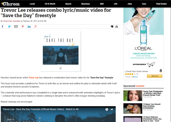 "The Houston Chronicle writes about Trevor Lee's ""Save the Day Freestyle"" Music Video Release."