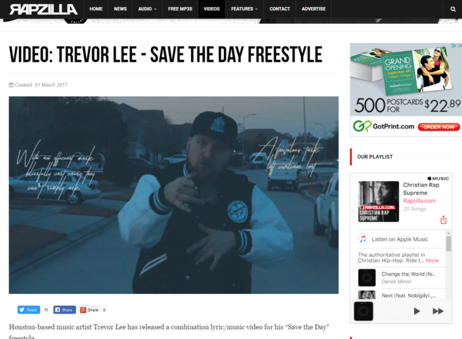 "Rapzilla features Trevor Lee's ""Save the Day Freestyle"" Music Video."