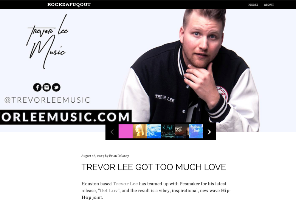 """RockDafuqOut.com gives a raving review about Trevor Lee's new single """"Get Luv""""."""