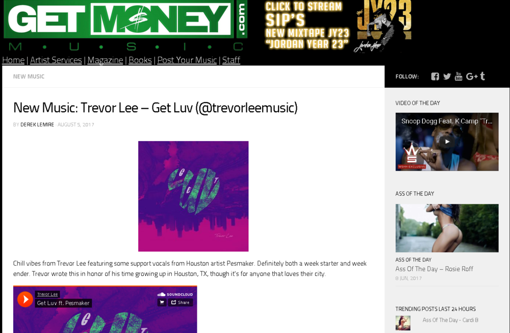 """Get Money Music features Trevor Lee's new single """"Get Luv"""" on their blog."""