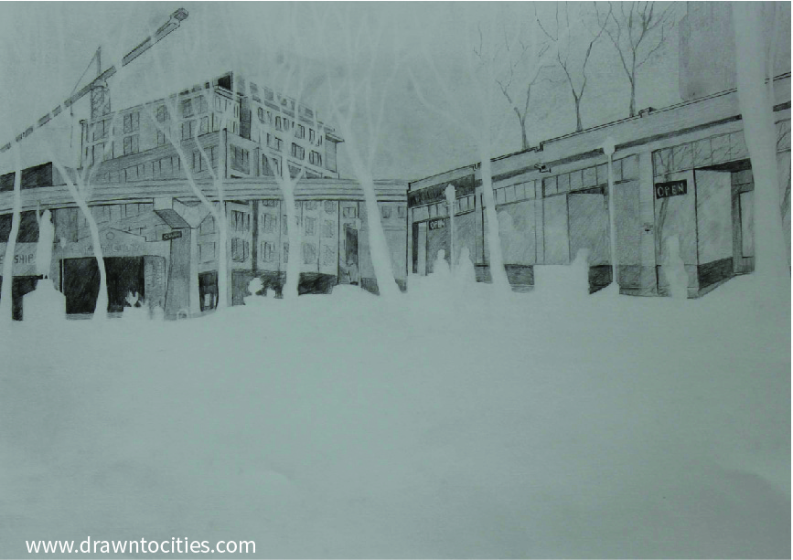 Pencil drawing of Tilikum Place Seattle surroundings by drawntocities.com