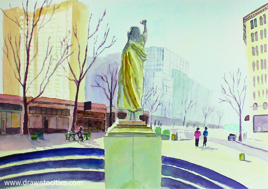 Watercolor painting showing color in Tilikum Place Seattle by drawntocities.com
