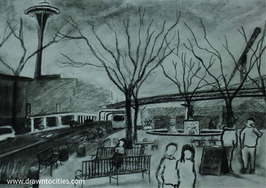 Charcoal drawing of Tilikum Place Seattle context by drawntocities.com