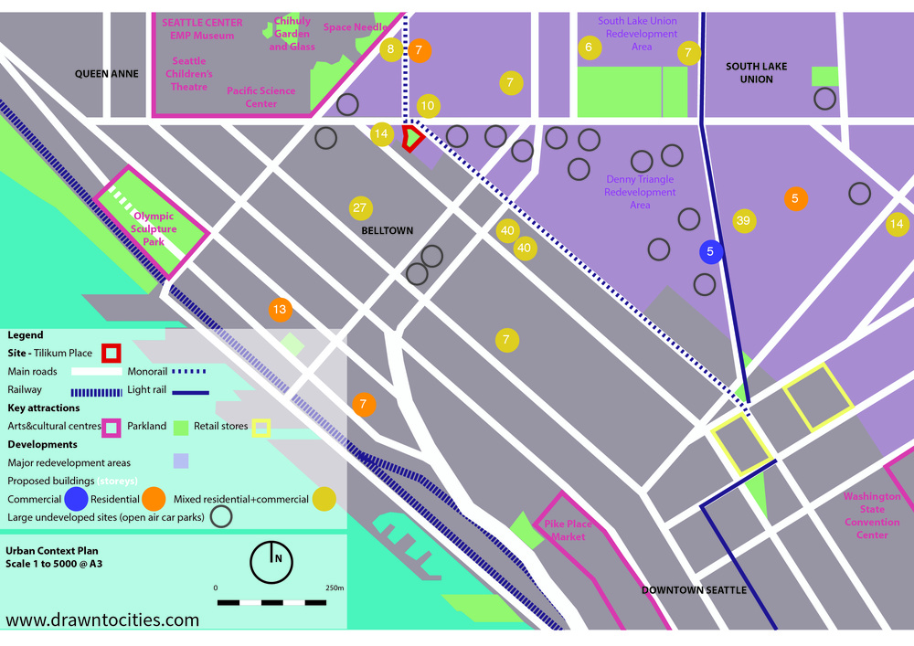 Development activity and vacant sites surrounding Tilikum Place Seattle context map by drawntocities.com