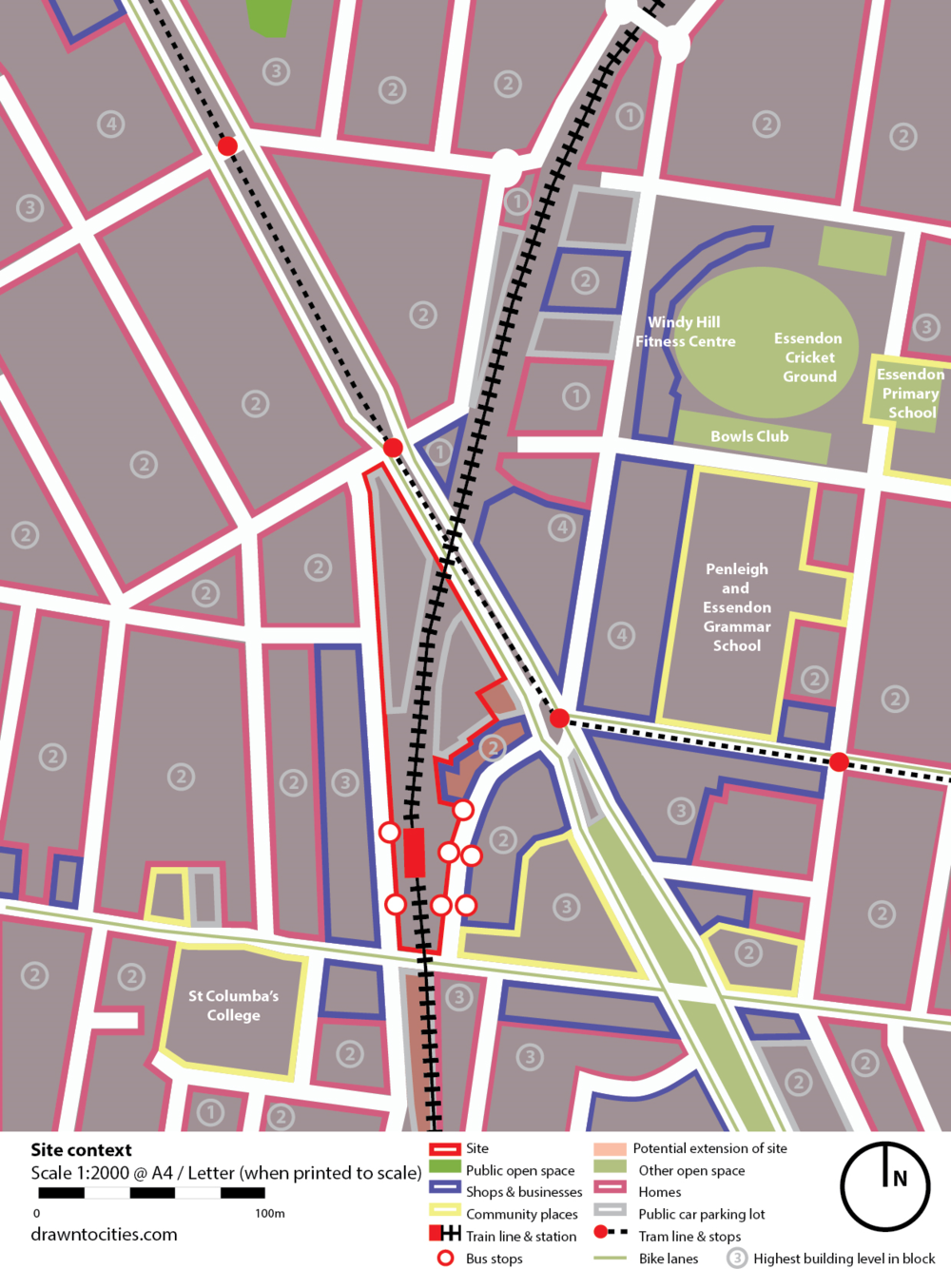 Essendon Station site context by Drawntocities.com